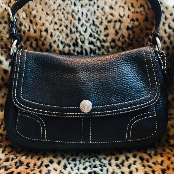 Coach Handbags - COACH Black Leather with White Stitching Bag